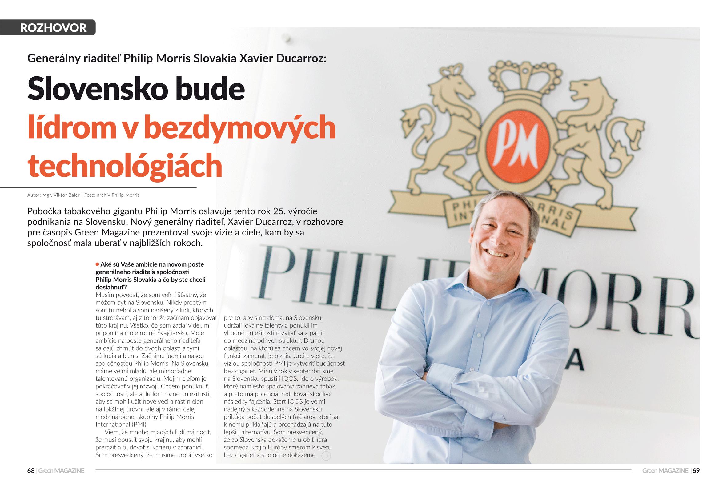 Xavier Ducarroz, Philip Morris Slovakia